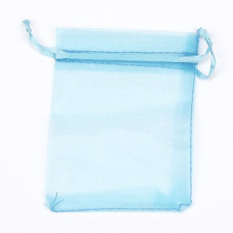 Sachet<strong> Organza </strong>pas Cher Turquoise 17 x 12